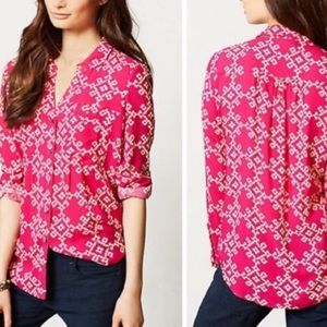 Anthropologie Maeve Overland Hot Pink Blouse